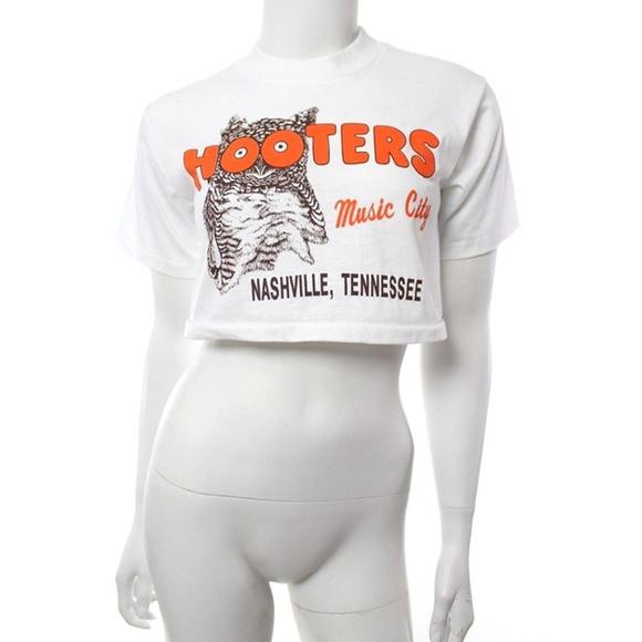 32e4c6c2fac8f0 Hooters Tops - Hooters Vtg 90s Crop T Shirt Music City Nashville